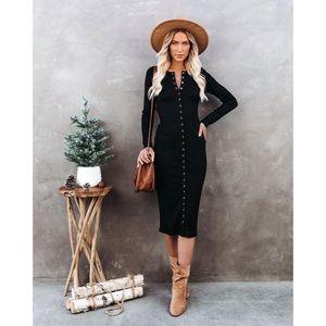 NEW VICI Kamila Ribbed Knit Button Midi Dress S